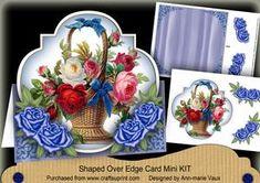 Blue Flower Basket Fancy Over 3D Mini Card Kit