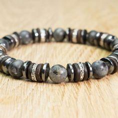8183e4fc7d9 Bracelet Homme perles pierre Larvikite Labradorite Gris Bois Cocotier  Hématite. Bracelet HommeBracelet PerleCollier ...