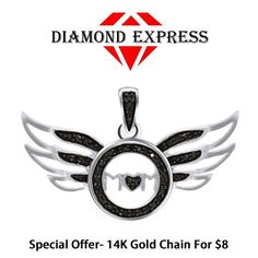 """14K Gold Round Brilliant Cut Mom Heart Angel Wings Pendant Without Chain """"Mother\'s Day Gift"""". Starting at $1"""