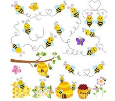OFF SALE Flying bumble bees clip art, bees vector graphic, commercial use clipart, Flying bees c Bee Rocks, Bee Clipart, Clipart Baby, Maya, Buzz Bee, Writing Paper, Paper Background, Cute Wallpapers, Art Images