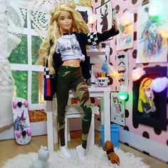 Image may contain: 1 person, standing Doll Clothes Barbie, Barbie Toys, Tadao Ando, Custom Barbie, Barbies Pics, Barbie Fashionista Dolls, Painted Denim Jacket, Barbie Friends, Barbie And Ken