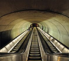 Dupont Circle Metro Station, Washington D.C. [when you're actually standing in front of this the incline is INSANE and about 188 feet long].