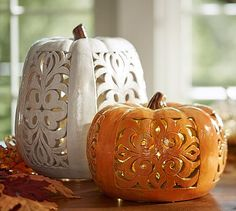 Filigree Punched Ceramic Pumpkins, Ivory or Orange #potterybarn