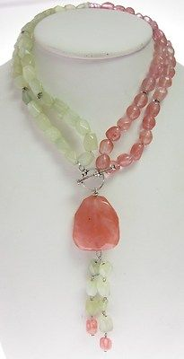 Light Green Pink Quartz Multi Strand Beaded Necklace