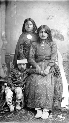 Widow Relative of Cochise's Wife and her Children, Chiricahua POWs at Fort Bowie, Arizona, April 1886.