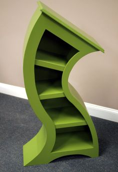 Visit Woodcurve on Facebook at: http://www.facebook.com/pages/WoodCurve/200027723422682  Very unique, 4 feet bookshelf finished in green enamel and constructed of hardwood plywood from my original design. This piece will spruce up any boring room and make its own statement! Would also make a nice addition to a childs themed room. If you desire a custom color, to match your designer style room, please contact me.    Allow 3-4 weeks for Delivery.