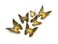 Brass Butterflies Golden Metal Butterfly Vintage Wall Art or Upcycle With Glass Glitter Instant Collection by www.veraviola.etsy.com