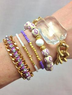 Lilac Dreams Stacked Bracelet Set by dAnn, #armcandy, #stacked, #bracelets