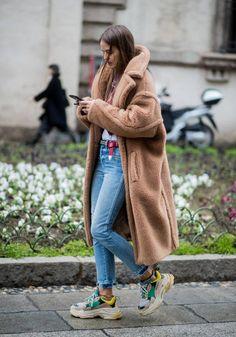 Carlotta Oddie wearing Max Mara coat seen outside Blumarine during Milan Fashion Week Fall/Winter 2018/19 on February 23 2018 in Milan Italy