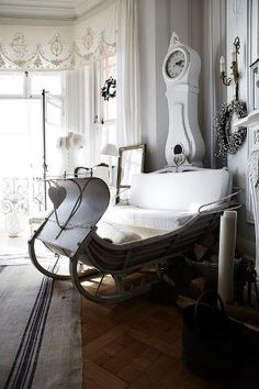Because I have so much room in my house for a seasonal sleigh. Vintage Sled, Luge, Style Deco, Sleigh Beds, Interior Decorating, Interior Design, Kid Beds, White Christmas, English Christmas
