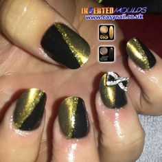Aztec Gold and Jet Black IMs by Cheryl Hammond. Instagram photo by invertednailsystems - http://instagram.com/p/1DgOW_BGHN/ #Nails #Nailart #NOTD #Gold #Black #Invertedmoulds #IMs