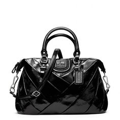 Coach Madison Diagonal Pleated Patent Juliette ($428) ❤ liked on Polyvore