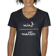 Women's V-Neck Mind over Matter Graphic T-Shirt