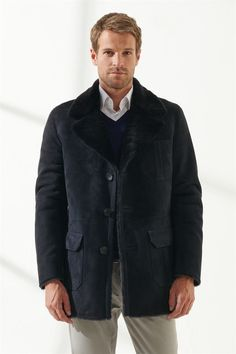KEVIN Men Casual Navy Blue Shearling Coat Black Noble   Luxury Shearling Black Shearling Coat, Mens Shearling Jacket, Pocket Detail, Suit Jacket, Navy Blue, Men Casual, Pure Products, Model, Clothes