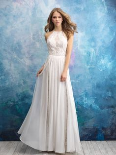 allure bridals fall 2018 bridal sleeveless halter neck heavily embellished bodice romantic soft a line wedding dress keyhole back chapel train mv -- Allure Bridals Fall 2018 Wedding Dresses Wedding Dress Trends, Bridal Wedding Dresses, Bridal Lace, Wedding Dress Styles, Bridesmaid Dresses, Prom Dresses, Wedding Dresses Halter Top, Lace Wedding, Wedding Skirt