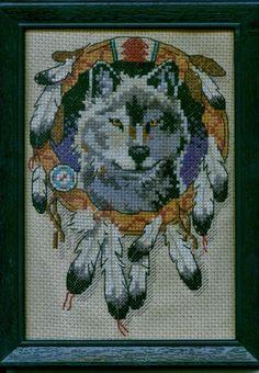Wolf Native American Indian Mandela Finished Cross Stitch