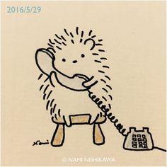 """1,317 Likes, 4 Comments - なみはりねずみ (@namiharinezumi) on Instagram: """"867 はりこがあなたのお話聞きます。 I listen to you. #illustration #hedgehog #イラスト #ハリネズミ #なみはりねずみ #illustagram"""""""