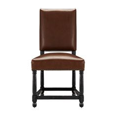 Vail Leather Dining Side Chair In Coffee And Black