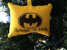 "Batman ""Gotham Is Safe"" Christmas Ornament DC Super Hero Bruce Wayne Joker Alfred Bat Caped Crusader Comic Book Signal FREE Shipiing to USA! by HollyAndHerHobbies on Etsy"
