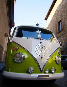 Green and white Volkswagen T1 Combi