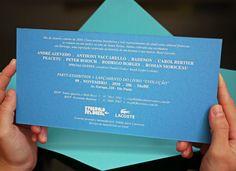 Peça: Convite Héritage  Projeto: Evolução Francesa  Cliente: Lacoste  Ano: 2009 a 2011