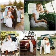 some wedding photo pickup trucks