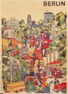 Berlin vintage travel poster, circa 1970