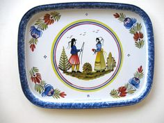 Vintage French Quimper Metal Tray Massily by jewelryandthings2