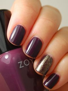 We love this accent finger manicure. Click the photo to see which #Zoya nail polish colors we used.