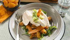 Salade tiède de poulet, carottes et abricots glacés à l'orange