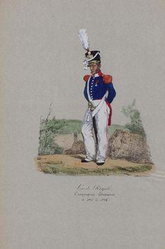 French; Garde Royale, Compagnie  Sédentaires, 1821-24.from Collection raisonnée des Uniformes français de 1814 à 1824 by Vernet & Lami(1825)