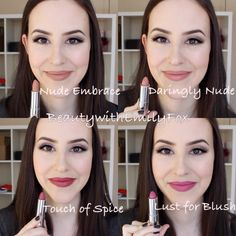 Maybelline Creamy Matte Lipsticks - Nude Embrace, Daringly Nude, Touch of Spice and Lust for Blush