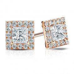Certified 14k Rose Gold Halo Princess-Cut Diamond Stud Earrings 2.00 ct. tw. (G-H, VS2)