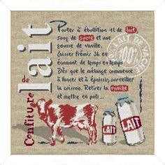 "Lilipoints - Gourmandise ""Confiture de lait"" 197 x 178 points  G012 Cross Stitch Kitchen, Rubrics, Cross Stitching, Cross Stitch Patterns, Lily, Kids Rugs, Embroidery, Cross Stitch, Ideas"