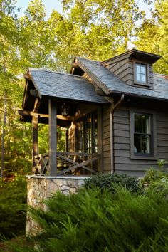 A rustic lakeside cottage designed by architects T. Adams Studio along with Westbrook Interiors is located on Lake Keowee, South Carolina. Lakeside Cottage, Lake Cottage, Rustic Cottage, Cottage Style Decor, Cottage Design, Stone Exterior Houses, Rustic Lake Houses, Rustic Cabins, Refuge