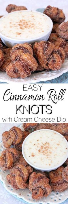 Easy Cinnamon Roll Knots with Cream Cheese Dip #easycinnamonrolls #thanksgivingbreakfast #thanksgivingdessert