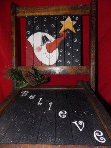 12016 Believe Chair Pattern Oil Creek by OilCreekOriginals on Etsy Christmas Chair, Christmas Wood, Primitive Christmas, Christmas Signs, Christmas Snowman, Christmas Projects, Christmas Decorations, Christmas Ornaments, Christmas Canvas