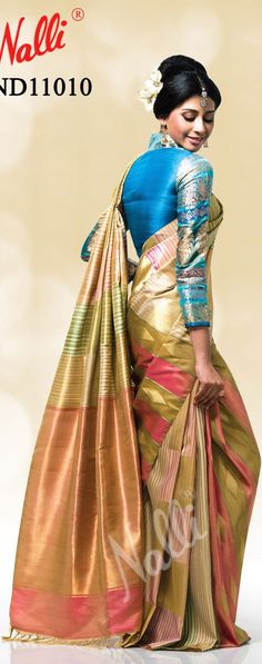 Have you tried full sleeves designer blouse for Kanjeevaram Pattu Sarees. Check these beautiful collection of full sleeves blouses from Nalli Silks. Nalli Silk Sarees, Nalli Silks, Phulkari Saree, Soft Silk Sarees, Kanchipuram Saree, Blouse Patterns, Saree Blouse Designs, Sari Blouse, Choli Designs