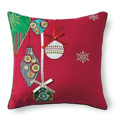 Red Jingle Bells Pillow
