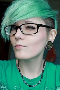 Green Hair✶ #Hairstyle #Colorful_Hair #Dyed_Hair