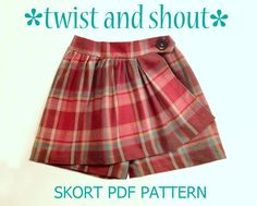 Twist & Shout Skort/Skirt Pattern Take a really comfy pair of shorts, add a super cute skirt and what do you get? Our Twist & Shout Skort! Sewing Patterns Girls, Girls Skirt Patterns, Sewing Terms, Basic Sewing, Sewing Ideas, Sewing Crafts, Sewing Projects, Twist And Shout, Applique Skirt