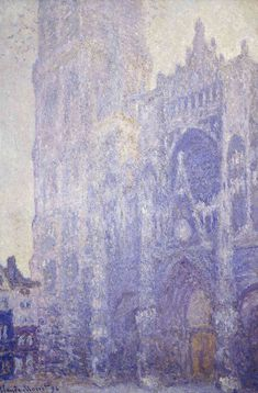 """Examine the way Monet used color and texture. Can you tell if this painting might have been done in the morning or afternoon? Claude Monet, """"Rouen Cathedral, Harmony in White, Morning Light,"""" 1894 Claude Monet, Monet Paintings, Landscape Paintings, Städel Museum, Artist Monet, Rouen, Impressionist Paintings, Oil Painting Reproductions, Art Moderne"""