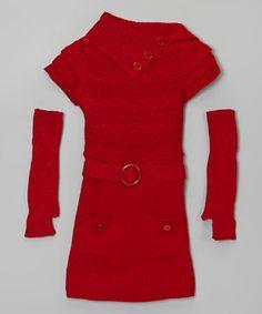 Look what I found on #zulily! Dollhouse Red Sweater Dress & Arm Warmer Set - Girls by Dollhouse #zulilyfinds