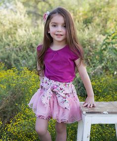Look at this Pink Floral Ruffle Bow Shorts - Infant, Toddler & Girls on #zulily today!