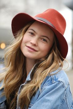 Behati Prinsloo in an adorable felt hat