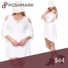 💖RJ Lace-up Cold Shoulder Tunic💖 💋💋HOST PICK 1/31/17 Everything Plus Size!!💋Get your sexy back!! 💋💋 Wear this tunic with your favorite leggings or Jeggings!! 💋💋 You can also wear it as a dress!! Comes in Black, Navy or White!!   Lace-up Cold Shoulder with Hanky Hem. 95% Rayon 5% Spandex Tops Tunics