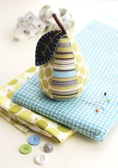 Stripes and Dots Pear Pincushion by Retro_Mama, via Flickr
