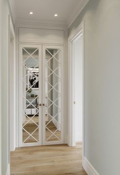 the short list: current cabinetry obsessions — the delight of design white french door cabinets with mirror and diamond mullion insert French Pocket Doors, Clean Bedroom, Hall Closet, Room Closet, Room Doors, Ceiling Design, Door Design, Tall Cabinet Storage, Storage Room