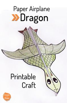 Für Kinder: What a fun and simple craft for kids – Free printable dragon paper airplane www… Easy Crafts For Kids, Projects For Kids, Art For Kids, Kid Art, Summer Crafts, Creative Crafts, Fun Crafts, Dragon Birthday, Dragon Party
