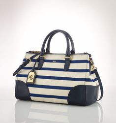 Ralph Lauren Canvas Red Pony Handbag Blue White